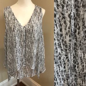 Covington semi sheer snakeskin tank blouse L